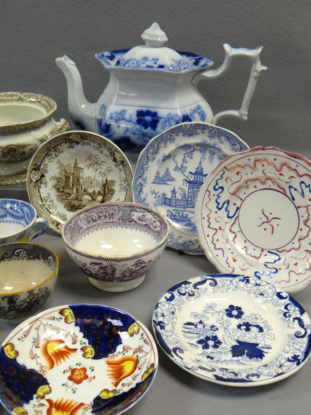NINETEEN ITEMS OF ASSORTED WELSH TRANSFER POTTERY (19) Comments: please view in person to examine - Image 2 of 4