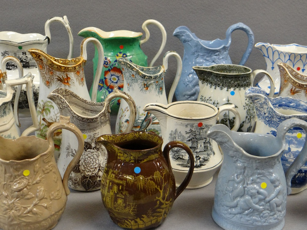 COLLECTION OF ANTIQUE WELSH POTTERY JUGS, including a trio of Glamorgan pottery, graduated trio - Image 3 of 4