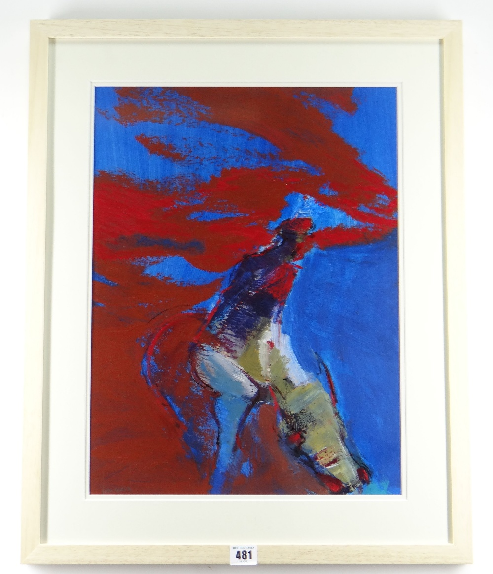 TOM NASH acrylic - figure with cow in red and blue, signed, 47 x 36cms Provenance: directly from the - Image 2 of 2