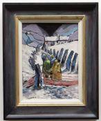 OWEN MEILIR oil on board - figures walking on snowy path, 39 x 29cms NB: Located for viewing /