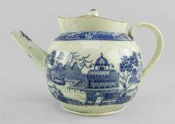 BLUE & WHITE POTTERY PUNCH POT & COVER POSSIBLY UNRECORDED SWANSEA CAMBRIAN circa 1800, of bellied