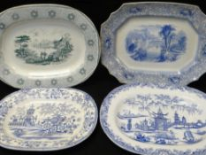 FOUR LLANELLY TRANSFER POTTERY PLATTERS comprising 'Milan', 'Sirius' (with merchant's stamp for F