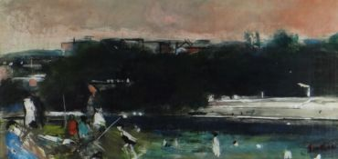 GLYN GRIFFITHS oil on paper / card / board - figures by a river, entitled verso 'On the River',