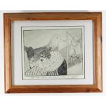 ERICA DABORN unique etching - comical illustration of two figures and a very large bird, title to