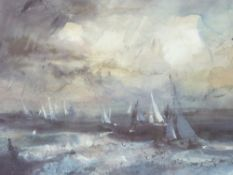 WILLIAM SELWYN artist's proof coloured print - yachts in a squall Menai Straits, signed in full,