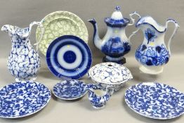 VARIOUS FLOW-BLUE BLUE DECORATED WELSH POTTERY including Ynysmeudwy 'Rio' coffee-pot, Cambrian '