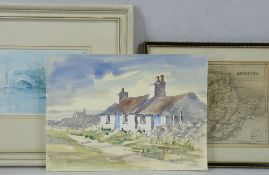 GWYNETH RYDER watercolour - coastal cottages Western Anglesey, unframed and signed, 25 x 35cms, a