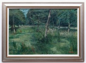 GLYN GRIFFITHS oil on board - entitled verso on Kooywood Gallery label, 'Midsummer Orchard', signed,