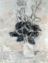 GORDON STUART mixed media - still life of cut flowers in a glass vase, signed, 55 x 43cms