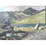 HOWARD MORGAN (b. 1949) oil on canvas - powerful landscape of Llyn Llydaw and Snowdon with seated