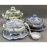 THREE SWANSEA POTTERY SAUCE TUREENS with different transfers Comments: please view in person to