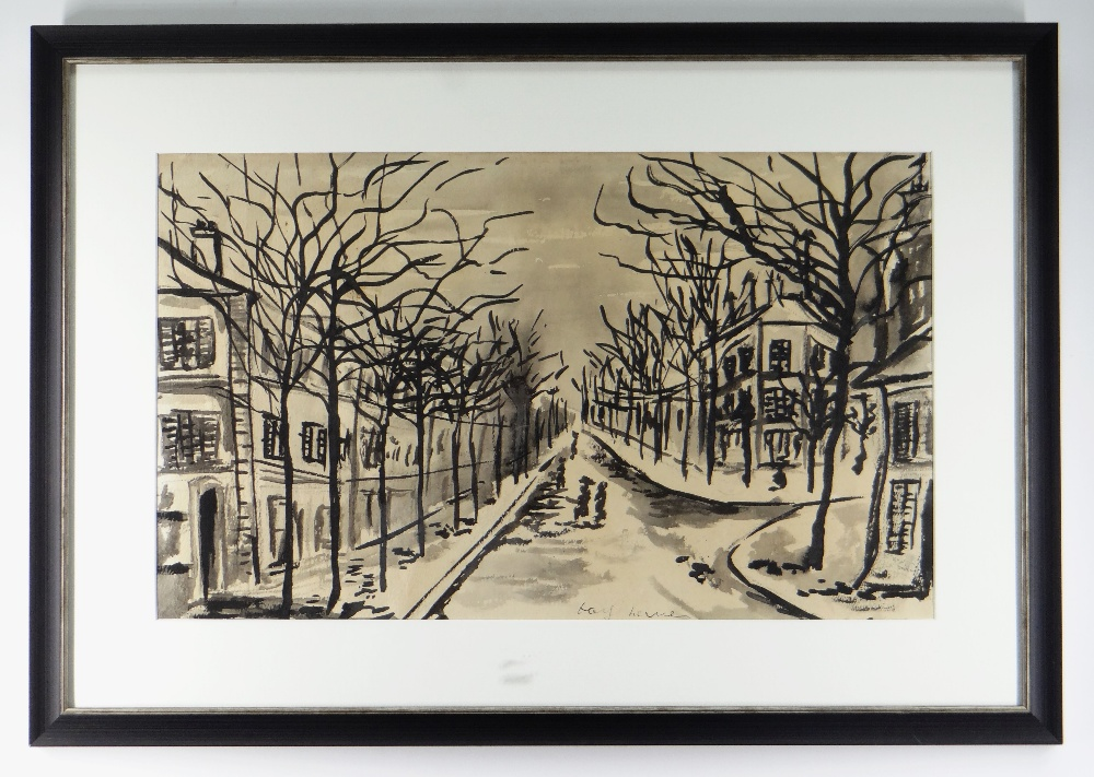 ATTRIBUTED TO JOSEF HERMAN OBE RA inkwash on paper - tree lined street with figures, entitled - Image 2 of 2