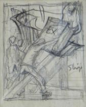 SIR FRANK BRANGWYN RA pencil sketch - entitled 'Bookplate Design', unsigned, 9.5 x 8cms