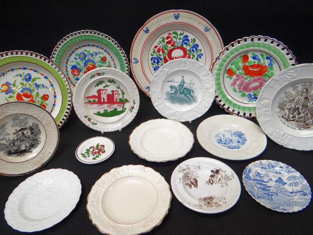 GROUP OF WELSH POTTERY DECORATIVE PLATES including three floral enamelled arcaded border plates with