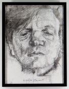 GORDON STUART monochrome mixed media on canvas - head portrait, signed, 39 x 29cms NB: Located for