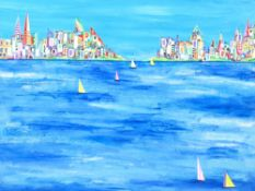 DANIEL MEAKIN mixed media on box canvas - abstract, entitled 'Summertime Sailing', signed and