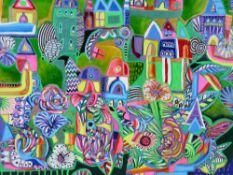 DANIEL MEAKIN mixed media on box canvas - abstract, entitled 'Wonderland', signed and dated 2021, 50
