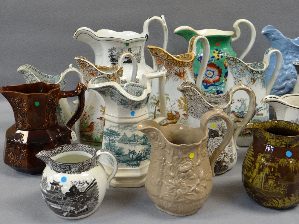 COLLECTION OF ANTIQUE WELSH POTTERY JUGS, including a trio of Glamorgan pottery, graduated trio - Image 4 of 4