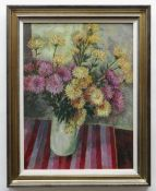 GLYN GRIFFITHS oil on board - still life, entitled verso 'Chrysanthemums and a Striped Cloth',