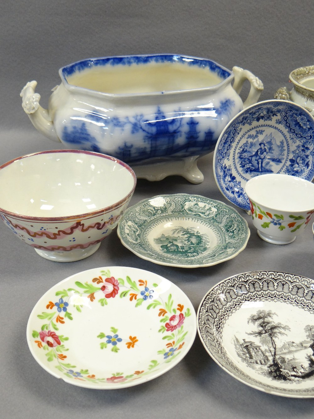 NINETEEN ITEMS OF ASSORTED WELSH TRANSFER POTTERY (19) Comments: please view in person to examine - Image 4 of 4