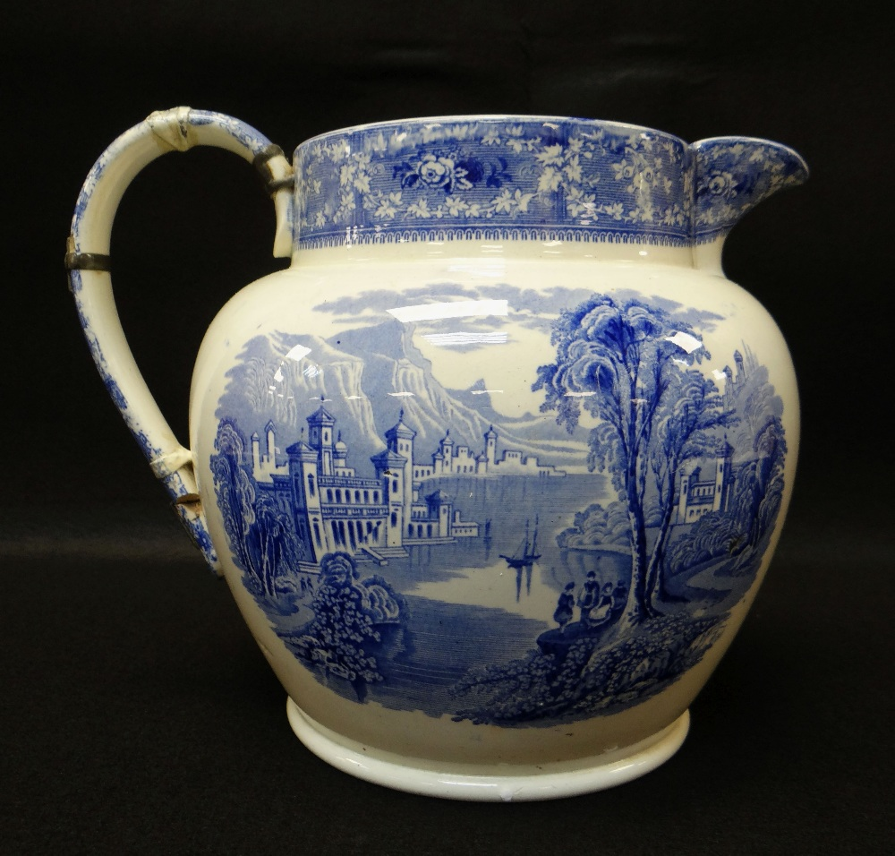 GROUP OF TEN SWANSEA POTTERY BLUE & WHITE TRANSFER JUGS including large 'Milan' transfer jug, - Image 3 of 4