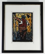 WILL ROBERTS print - standing waistcoat wearing gardener holding a long pole, signed and dated 1981,