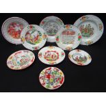 GOOD COLLECTION OF 19TH CENTURY WELSH POTTERY MINIATURE PLATES all polychrome enamelled and with