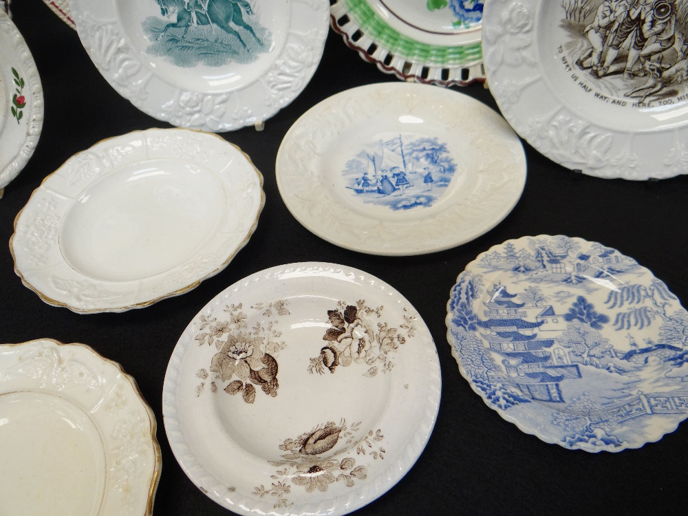 GROUP OF WELSH POTTERY DECORATIVE PLATES including three floral enamelled arcaded border plates with - Image 3 of 5