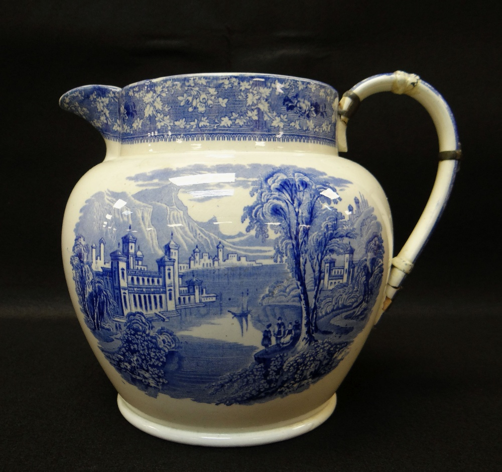 GROUP OF TEN SWANSEA POTTERY BLUE & WHITE TRANSFER JUGS including large 'Milan' transfer jug, - Image 2 of 4