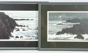 WILF ROBERTS coloured limited edition (1/10) & (8/10) prints, a pair - rocky Anglesey coastal