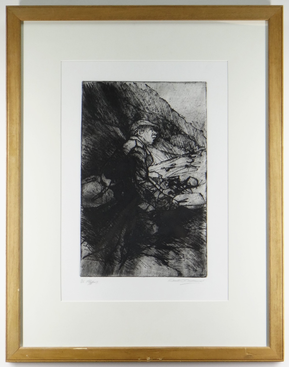 DAVID CARPANINI limited edition (5/40) etching - Kyffin II, signed, titled and numbered in