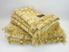 CLASSICAL WELSH WOOLLEN BLANKETS - with Rhyd y Bont labels, mustard and white reversible traditional