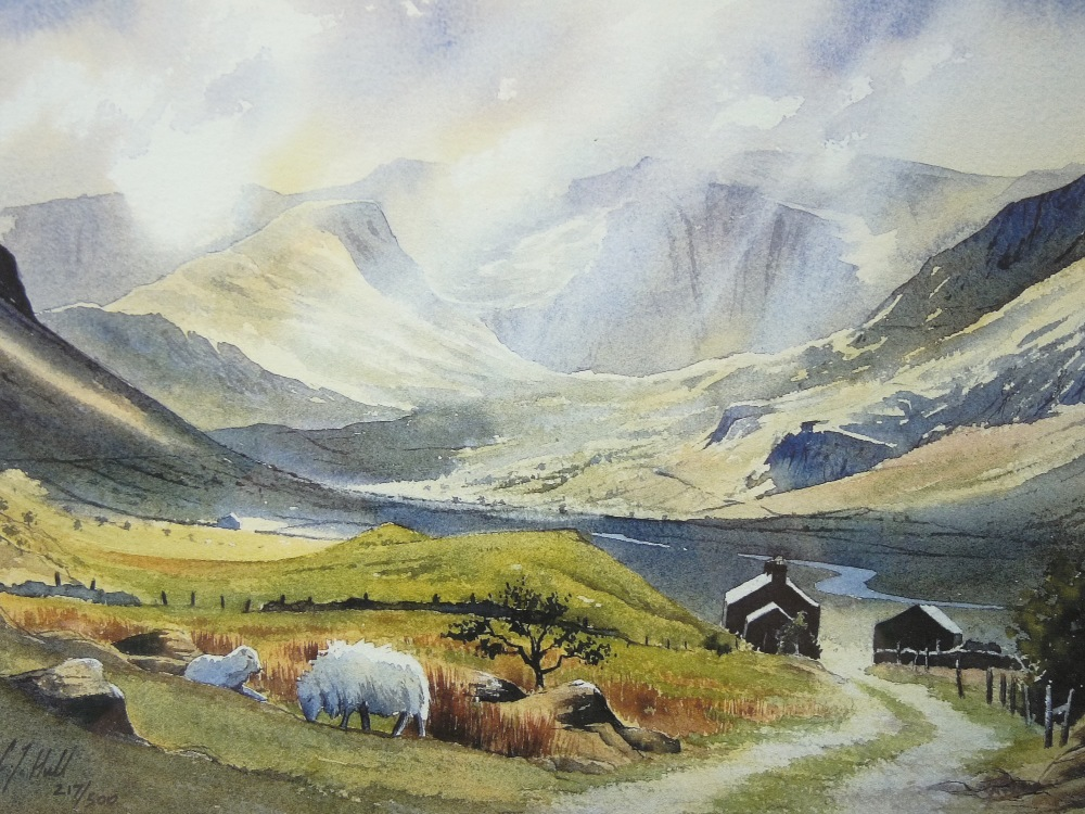 C J HALL limited edition coloured print (217/500) - Nant Ffrancon under shafts of sunlight with