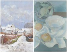 DAVID PRICE pastel - entitled verso on Attic Gallery Swansea label 'A Touch of Winter', signed, 30 x