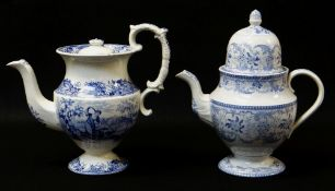 SWANSEA POTTERY COFFEE POT IN THE BLUE & WHITE TRANSFER 'COTTAGE GIRL', of bellied and footed