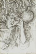 ALAN PERRY pen and ink - figure, entitled 'Rain' and with inscription verso 'A free sketch for you
