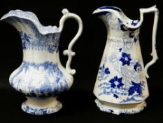 LLANELLY SOUTH WALES POTTERY BLUE & WHITE TRANSFER JUG IN THE 'PANORAMA' PATTERN of bellied form,