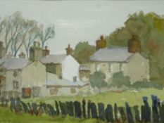 STANLEY NOWELL watercolour - cottages at Croesor, signed and dated 1994 with artist's details