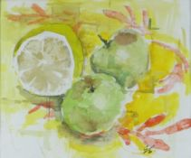 GORDON STUART watercolour - still life of a lemon and apples, signed with initials, 17 x 20cms NB: