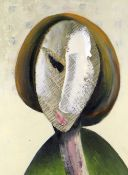 ANNA DAVIES mixed media on board - entitled verso on Kooywood Gallery label 'Portrait of a Woman',