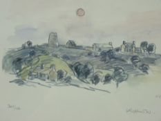 SIR KYFFIN WILLIAMS RA limited edition print (369/750) - Anglesey hillside cottages with windmill,