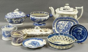 ASSORTED GROUP OF WELSH POTTERY TRANSFER WARE including toothbrush container, sauce tureen, mugs,