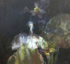 GLYN MORGAN oil on canvas - entitled verso 'Owl Over a Lily Pond' , signed 'Morgan', dated 1978, 113