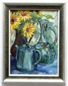 CYNTHIA GRIFFITHS oil on board - still life, entitled verso 'Green Teapot and Sunflowers', signed