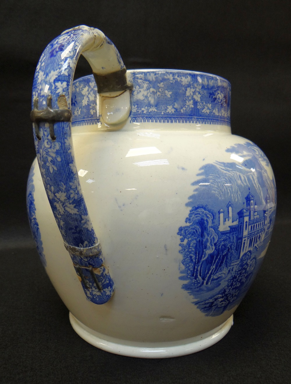 GROUP OF TEN SWANSEA POTTERY BLUE & WHITE TRANSFER JUGS including large 'Milan' transfer jug, - Image 4 of 4