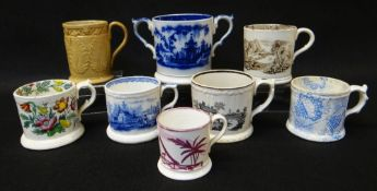 EIGHT VARIOUS WELSH POTTERY MUGS including Ynysmeudwy 'Benthall' stoneware mug with label to the