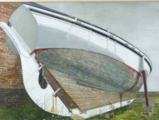PHILLIP MUIRDEN watercolour - close up study of the hull of a beached boat, signed in full, 55 x