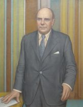 ALFRED JANES oil on board - standing portrait of Iain Macleod, titled on 1974 Welsh Arts Council