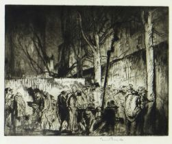 SIR FRANK BRANGWYN RA drypoint etching - busy street scene with street vendors, signed in pencil, 27