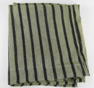 A TWO-SECTION JOINED HEAVY WEIGHT ANTIQUE WELSH BLANKET having narrow dark blue flecked stripes